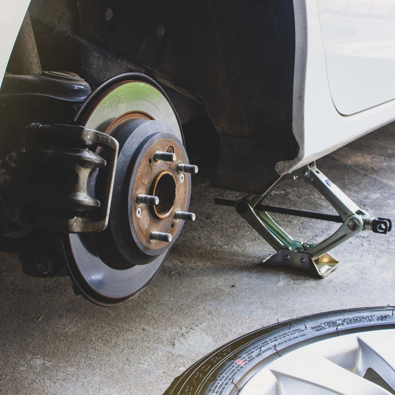 Car Brakes with wheel off